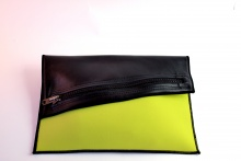 NIL Bag/CLUTCH(Black Leather×Lime)