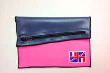 NIL Bag/CLUTCH(Navy Leather×Pink)+option