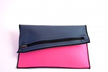 NIL Bag/CLUTCH(Navy Leather×Pink)
