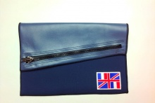 NIL Bag/CLUTCH(Navy Leather×Slate)+option